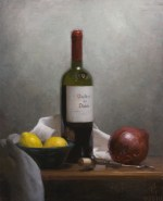 """Still Life with Wine and Onion, ©2010 by Adrian Gottlieb Oil on Belgian Linen Size: 16"""" x 20""""  S. R. BRENNEN GALLERIES SOLD"""