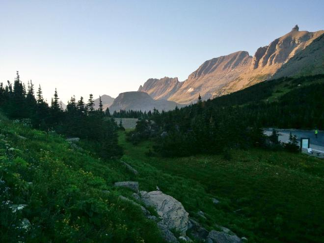 Mountains N of Logan Pass. Lupe wasn't allowed to set a single paw on a trail heading off in this direction.