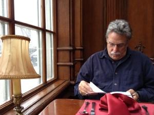 checking out the menu at the Pushkin Cafe