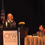 a photo I took from the 2009 CEW Awards Luncheon.  Allure's Linda Wells makes opening remarks. Mario Cantone looks on.
