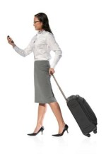 female traveler with cell phone