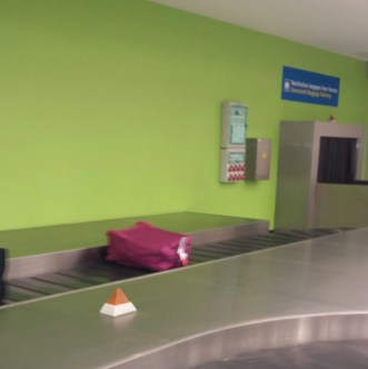 yes, that's mine...the hot pink Lipault bag -- coming around on the luggage carousel at Orly Airport!