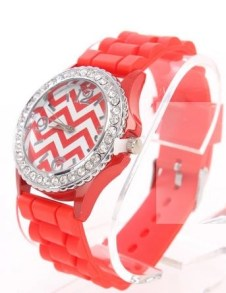 red chevron print rhinestone watch from AMI Clubwear side view