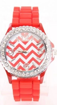 red chevron print rhinestone watch from AMI Clubwear