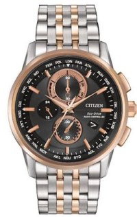 WORLD CHRONOGRAPH A-T MODEL: AT8116-57E MSRP $650features Atomic timekeeping in 26 time zones, 1/20-second chronograph measures up to 60 minutes, perpetual calendar, 12/24-hour time, power reserve indicator,day and date. Crafted with rose gold two-tone stainless steel case and bracelet with black dial featuring rose gold-tone accents and sapphire crystal.