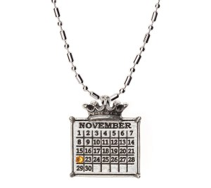 """silver """"Your Special Day"""" Crown Calendar Charm (Ball Chain Included)"""