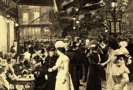 Cafe de las Paix circa 1900 in Paris