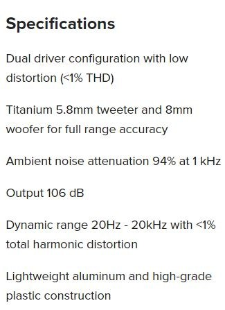 features for puro IEM 500 in ear monitors