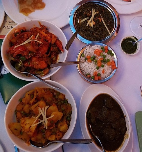 an array of dishes at Saffron restaurant