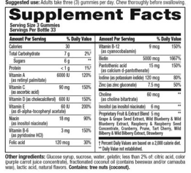 supplement facts gorgeous hair skin and nails by vitafusion