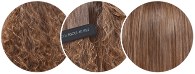 hair with hot tools showing smoothing