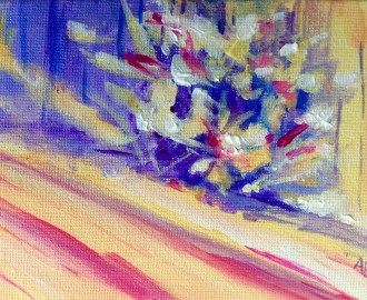 Quick paint study of snow on a bush in warm yellow, violet and pink