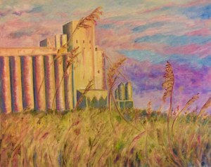 """Sunset on the Grainery Acrylic on stretched canvas 20""""x 16"""""""