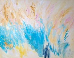 Cereulean blue acrylic painted on canvas  middle ground