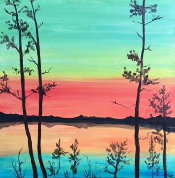 30 minute acrylic painting of Muskoka sunset in green, red & blue