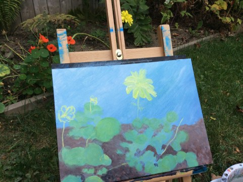 Nasturtiums and marigolds in the garden wip acrylic painting on board