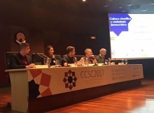 Mesa redonda sobre cultura científica y ciudadanía democrática, moderada por Gonzalo Remiro. Con Josep Lobera, Guido Corradi, Ana Paula Morales y José Antonio López Cerezo.