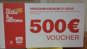 Cheque-prémio (500 euros) do concurso de banda desenhada