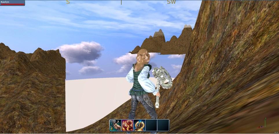 Builder character staring at a runaway mountain.