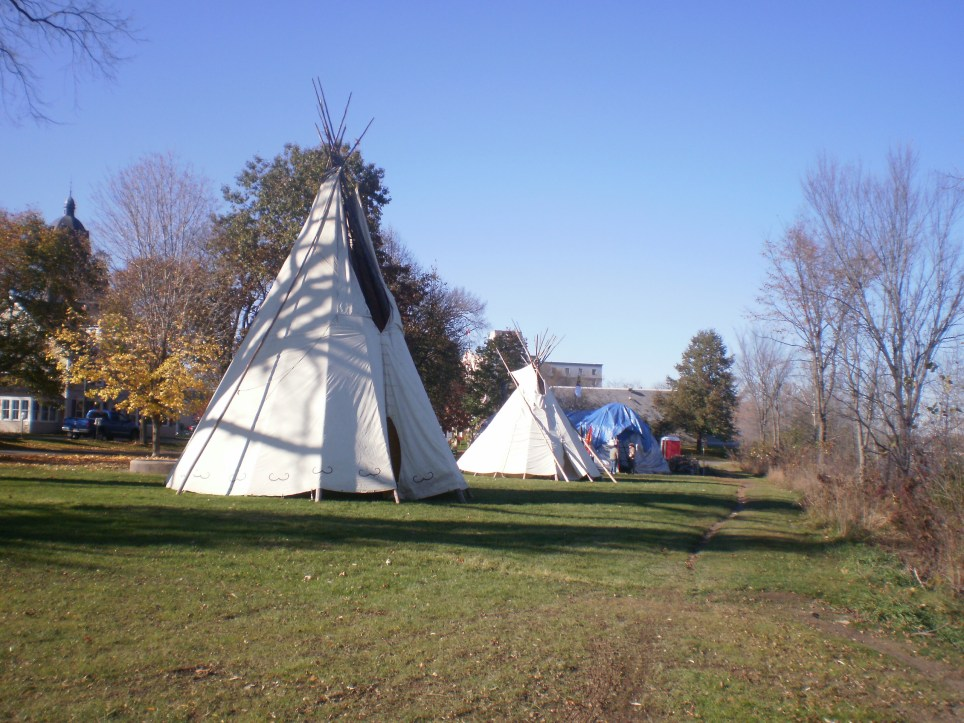 Tipis set up in Downtown Fredericton