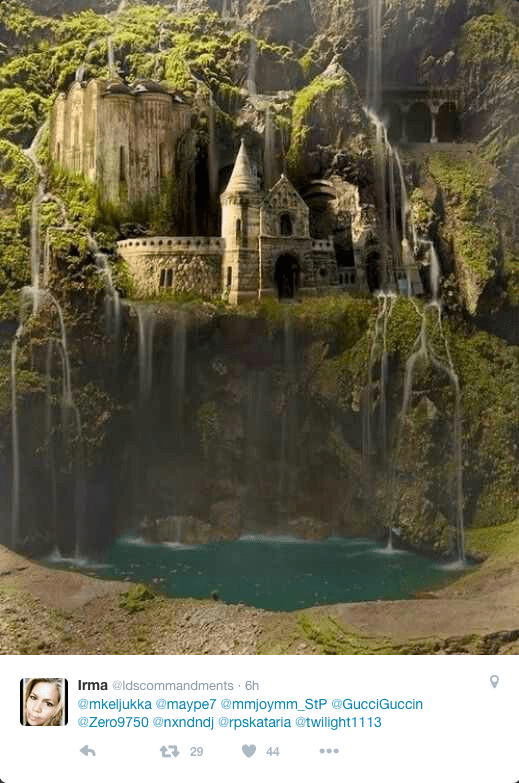 Water falling lazily around an old castle somewhere?