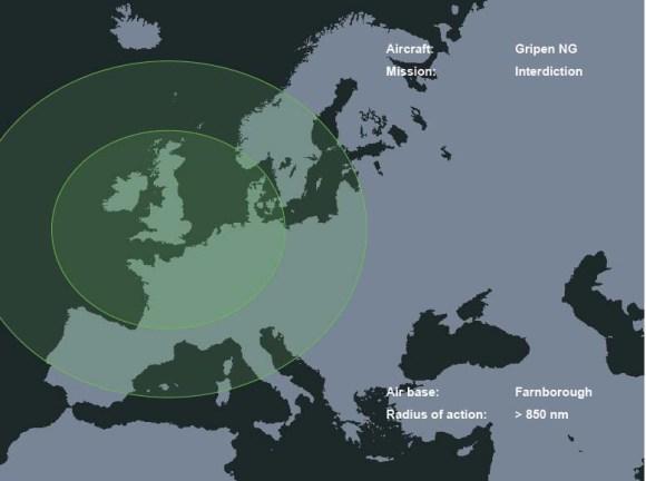 Raio de ação do Gripen NG em interdição a partir de Farnborough - imagem Saab