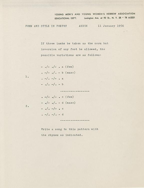 WH Auden Verse Exercise 1956