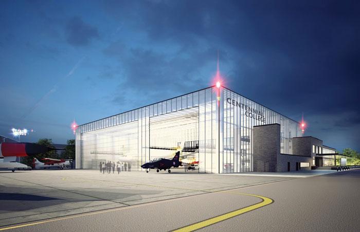 Hangar à lavion du Centennial College de Toronto. Crédit : UTIAS