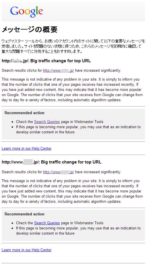 google ウェブマスターツール Big traffic change for top URL