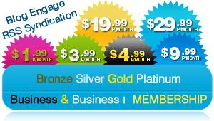 Blog Engage Memberships, RSS, Blog Engage