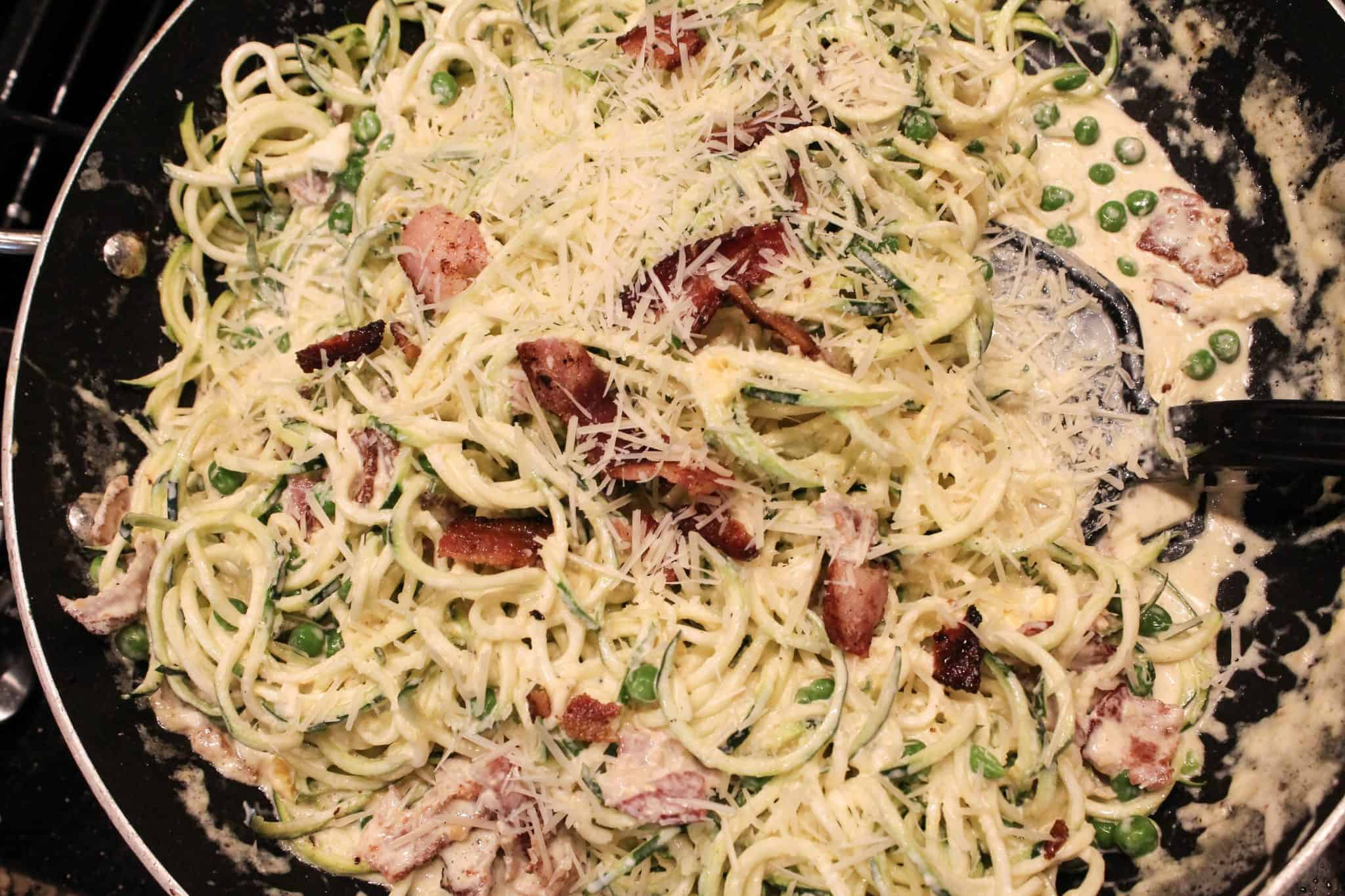 Low Carb Carbonara Recipe Made with Zoodles
