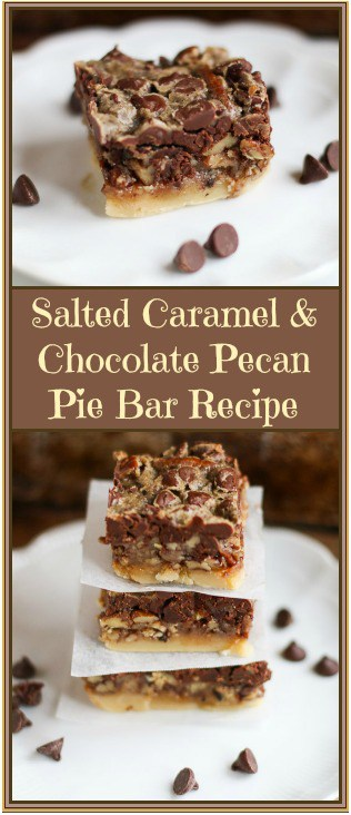 Salted Caramel and Chocolate Pecan Pie Bars - A Fork's Tale