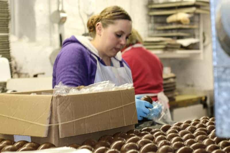 Boxing the Jelly Bean Eggs at Hughes' Home Maid Chocolates