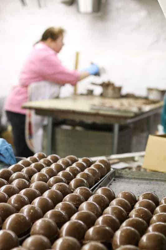 Making Easter Chocolates at Hughes' Home Maid Chocolates