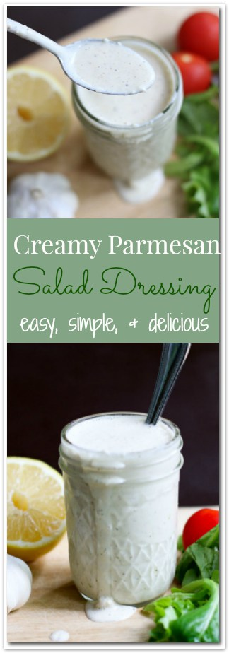 This Creamy Parmesan Salad Dressing is super easy to make. Made with parmesan, lemon, peppercorn, and garlic; this salad dressing is absolutely delicious!