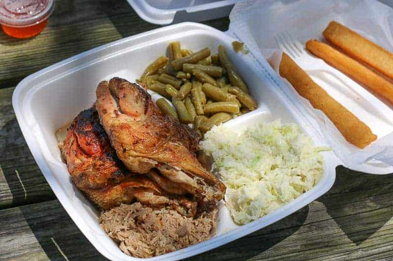 Chicken and barbecue combo at B's Barbecue in Greenville, NC