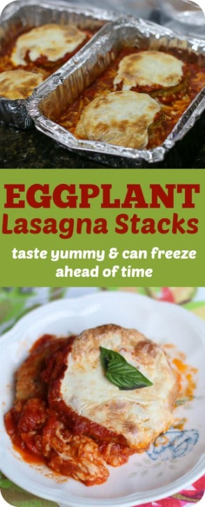 These Eggplant Lasagna Stacks taste as good as they look. They also freeze well, therefore you can make them ahead of time and heat them up later. Eggplant Lasagna Stacks can be served as an entree or heavy hors d'ouvre. They are the perfect addition for your next dinner party!