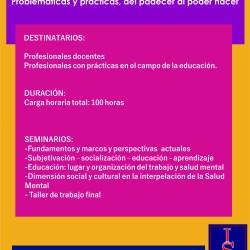 """Trayecto de Formación """"Educación en clave de salud mental. Problemáticas y prácticas, del padecer al poder hacer"""""""