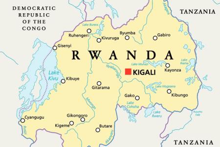 map of rwanda and surrounding countries