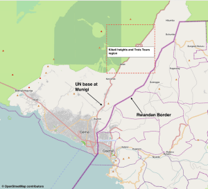 Map of the conflict area near Goma where the FIB and FARDC have engaged M23 rebels