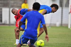Les Gabonais à l'entrainement