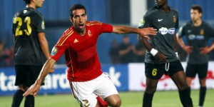 Mohamed Aboutrika of Egypt's Al-Ahly celebrates after scoring a goal against against Tunisia's Esperance Sportive de Tunis (E.S.T ) during their African Champions League (CAF) soccer match in Cairo Stadium