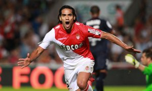 Monaco's Radamel Falcao celebrates after scoring in the 2-0 Ligue 1 victory at Bordeaux