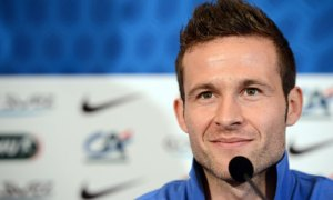 French midfielder Yohan Cabaye gives a p