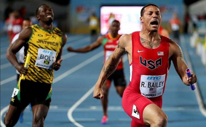 Ryan Bailey et les usa battent usain bolt et la jamaique au 4x100