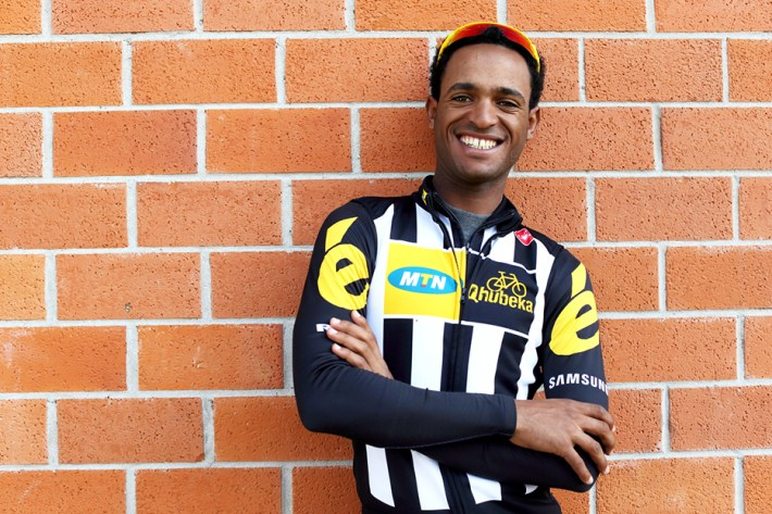 African rider, Natnael Berhane, before a ride at the Team MTN-Qhubeka service course in Lucca, Italy on Wednesday March 18, 2015.  Natnael Berhane is certainly one of the most talented riders on the African Continent. He proved this by winning the continental championships on 2 occasions now. Natnael was also the first black African rider to win a European race when he won the Queen stage and the overall classification of the Tour of Turkey.  Natnael also won the most prestigious African stage race in 2014, the Tour of Gabon by craftily outsprinting multiple Tour de France stage winner Luis Leon Sanchez. It was only natural that one of Africa's best riders would join Africa's team for the 2015 season. Natnael will certainly be one of the protected GC riders during the course of the year.