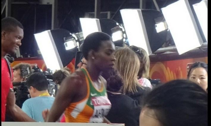 murielle ahouré out en demie du 100 m pekin 2015