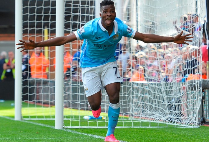 Manchester City's Nigerian striker Kelechi Iheanacho celebrates scoring the winning goal during the English Premier League football match between Crystal Palace and Manchester City at Selhurst Park in London on September 12, 2015. AFP PHOTO / GLYN KIRKRESTRICTED TO EDITORIAL USE. No use with unauthorized audio, video, data, fixture lists, club/league logos or 'live' services. Online in-match use limited to 75 images, no video emulation. No use in betting, games or single club/league/player publications.