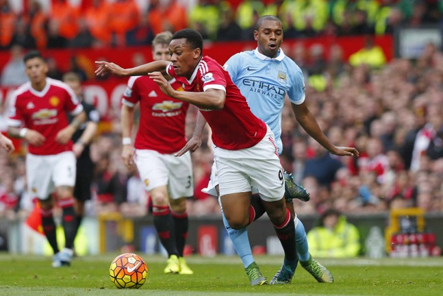 Manchester City's Fernandinho and Manchester United's Anthony Martial