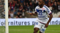 Lyon's French forward Aldo Kalulu reacts after scoring during the French L1 football match between Olympique Lyonnais against Sporting Club de Bastia on September 23, 2015 at the Gerland stadium in Lyon, Southeastern France.                                    AFP PHOTO / PHILIPPE DESMAZES